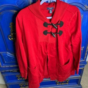 Chaps Sweater XL Red Toggle Jacket Knit Sweater
